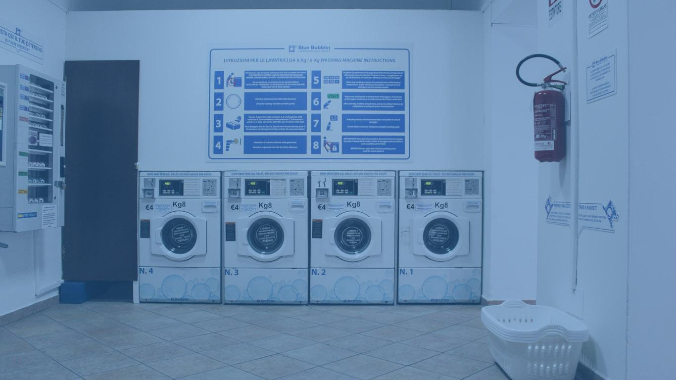 lavatrici da 8kg lavanderia self service Blue Bubbl